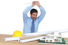 Angry architect Royalty Free Stock Photo