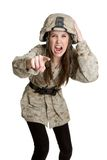 Angry Army Girl Royalty Free Stock Images