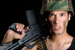Angry Army Man. Holding gun Stock Photography