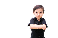 Angry asia child boy. Isolated royalty free stock image