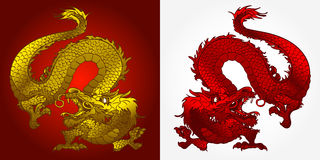 Angry Asian dragon gold and red. Angry Asian Chinese dragon gold and red on red and white background Royalty Free Stock Photo