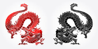 Angry Asian dragon red and black. Angry Asian Chinese dragon red and black version on white background Royalty Free Stock Photography