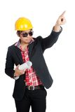 Angry Asian engineer man point up Stock Photo