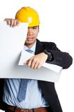 Angry Asian engineer man tear out paper Royalty Free Stock Photos