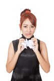 Angry Asian office girl crumple paper with both hand Stock Photo