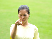 Angry asian woman Stock Photo