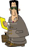 Angry Attorney. Illustration that depicts  an angry looking attorney holding a legal pad and a briefcase Royalty Free Stock Photography