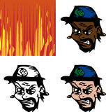 Angry Avatar Man. Three avatar versions of an angry man with fiery background option stock illustration