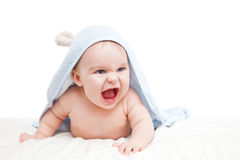 Angry baby. With towel on white Stock Photos