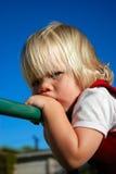 Angry baby girl stock photo