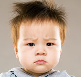 Angry baby. With gray background Stock Image