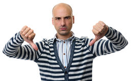 Angry bald man gesture thumbs down Stock Photography