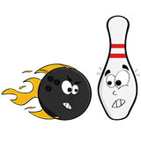 Angry ball scares pin. Cartoon illustration showing an angry bowling ball and a pin afraid of being hit Stock Photo