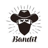 Angry bandit, gangster logo or label. Portrait of cowboy in mask.  Royalty Free Stock Photography