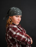 Angry bandit girl. On black background Stock Image