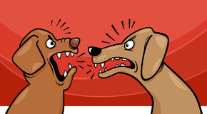 Angry barking dogs cartoon illustration Stock Photos