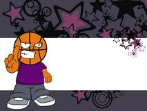 Angry Basketball kid head cartoon background Stock Image