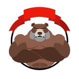 Angry bear athlete Round emblem. Large wild animal. Vector logo Stock Photos