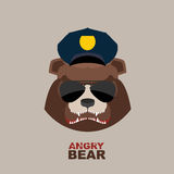 Angry bear. Bear police officer. Police Cap Stock Images