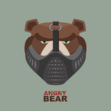 Angry bear in mask. A ferocious wild animal Stock Photography
