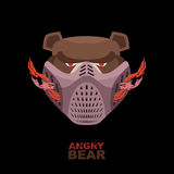 Angry bear in mask. A ferocious wild animal Royalty Free Stock Images