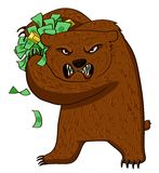 Angry bear with money Stock Photos