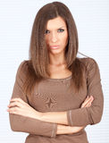 Angry beautiful woman with crossed arms Stock Images