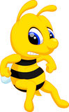 Angry bee cartoon Stock Images