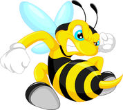 Angry bee cartoon. Vector illustration of angry bee cartoon Stock Image