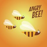 Angry bee flat design Stock Image