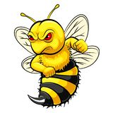 Angry bee mascot vector illustration