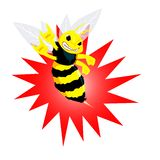 Angry Bee Vectoral Cartoon Illustration. stock image