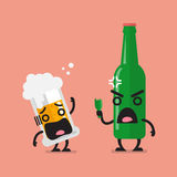 Angry beer bottle with glass of beer character Royalty Free Stock Photo