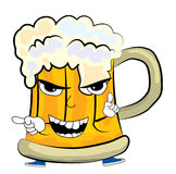 Angry beer cartoon Royalty Free Stock Images