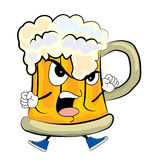 Angry beer cartoon Stock Image