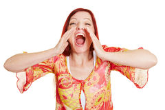 Angry woman screaming loudly royalty free stock image