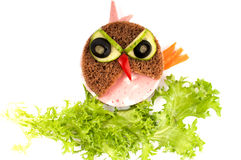 Angry Bird sandwich for child. Stock Photos