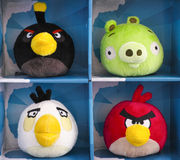 Angry Birds collectible plush 4 pack. Tambov, Russian Federation - February 28, 2016 Angry Birds collectible plush toys 4 pack in paper boxes. There are Bomb Stock Images
