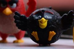 Angry Birds czerni i czerwieni collectible zabawka zdjęcia royalty free