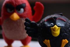 Angry Birds czerni i czerwieni collectible zabawka obrazy royalty free
