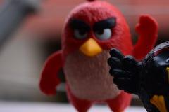 Angry Birds czerni i czerwieni collectible zabawka obraz royalty free