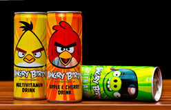 Angry birds drink cans Stock Photo