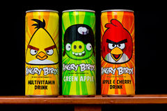 Angry birds drink cans Royalty Free Stock Photos