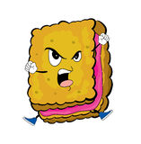 Angry biscuit cartoon Stock Image