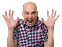Angry bizarre dude looking at camera. Isolated on white background Stock Photo