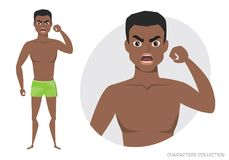 Angry black african american men. Negative Emotions. Bad Days. Bad Mood. Stressful men. Men in a beach swimming trunks Royalty Free Stock Photography
