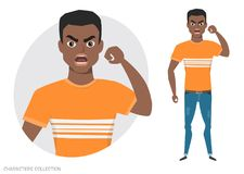 Angry black african american men. Negative Emotions. Bad Days. Bad Mood. Stressful men. Men in a casual cloth Stock Images