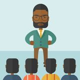 Angry black boss facing at his employees Stock Images
