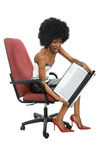 Angry black woman with laptop Stock Images