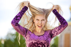 Angry blond fashion model Royalty Free Stock Images